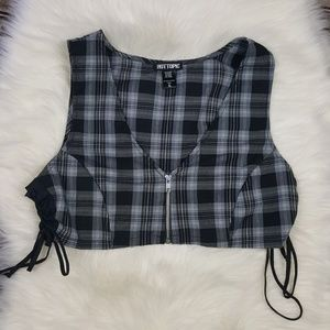 Hot Topic Plaid Zippered Sleeveless Crop Top